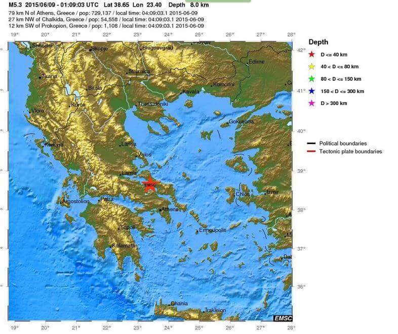 Forte scossa di terremoto in Grecia, magnitudo 5.3 Richter a Nord di Atene - EMSC