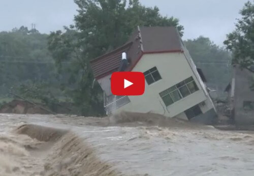 Alluvione in Cina: il video di una casa spazzata via dalla furia dell'acqua - Youtube