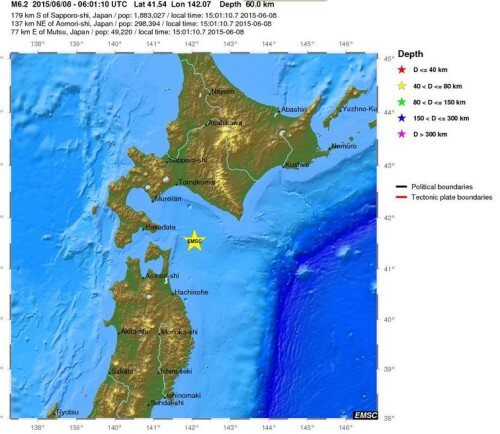 Terremoto in Giappone, forte scossa di magnitudo 6.0 Richter tra Honshu e Hokkaido - mappa e dati EMSC
