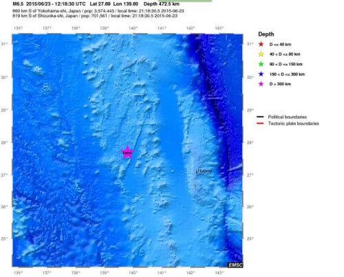 Nuova forte scossa di terremoto a Sud del Giappone, magnitudo 6.3 Richter - mappa a cura EMSC