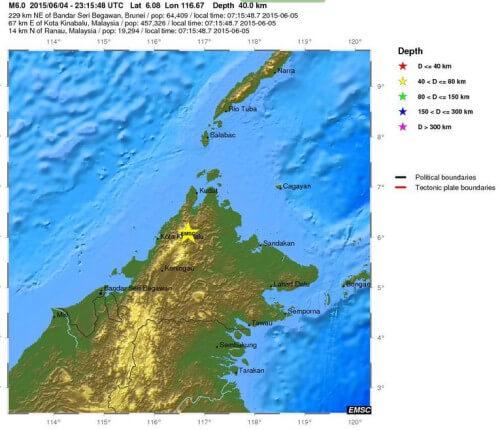 Forte scossa di terremoto in Malesia, magnitudo 6.0 Richter, danni e frane - EMSC
