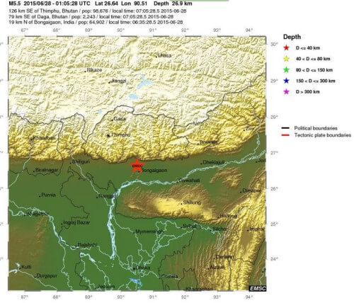 Forte scossa di terremoto tra India, Nepal e Bangladesh, magnitudo di 5.5 della scala Richter - USGS