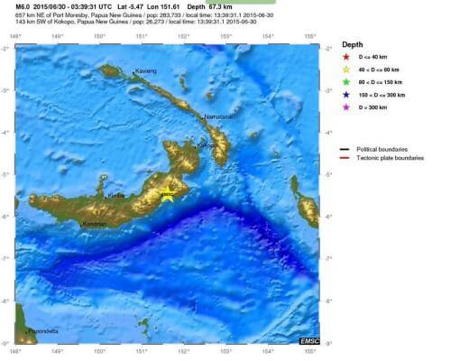 Terremoto Papua Nuova Guinea, intensa scossa di magnitudo 6.0 Richter nella notte - EMSC
