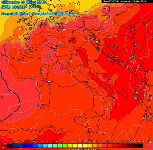 Caldo in arrivo sull'Italia, forte aumento termico nella prossima settimana - www.meteociel.fr