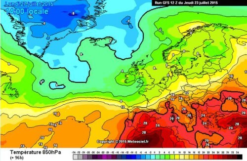 Calo termico sull'Italia tutto ridimensionato, su molte zone del Centro-Sud farà sempre caldo - www.meteociel.fr