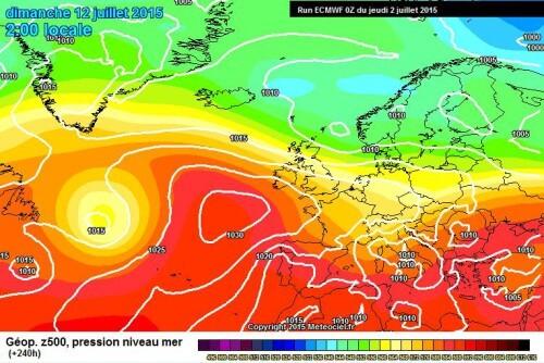 Meteo lungo termine: possibile stop dal caldo africano attorno al 10/12 Luglio - www.meteociel.fr