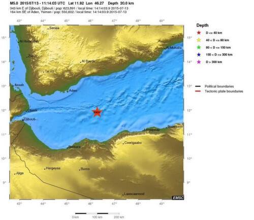 Sciame sismico nel Golfo di Aden, registrate sei intense scosse di terremoto - EMSC