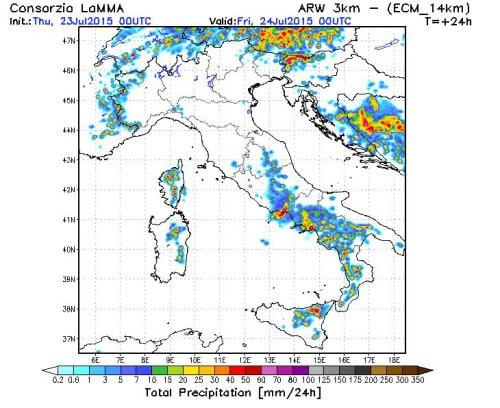 Temporali oggi 23 Luglio 2015 sull'Italia: tra caldo e forte maltempo  - LaMMA