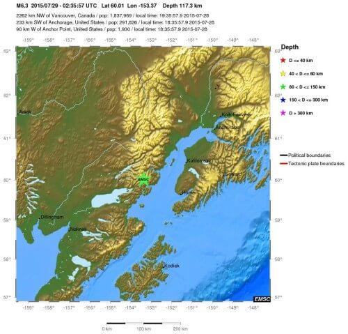Forte scossa di terremoto in Alaska, magnitudo 6.3 Richter - EMSC