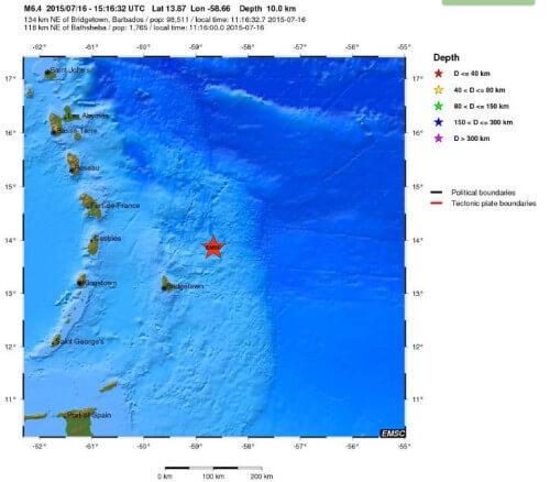 Terremoto Barbados/Colombia, forte scossa in mare di magnitudo 6.4 della scala Richter - EMSC