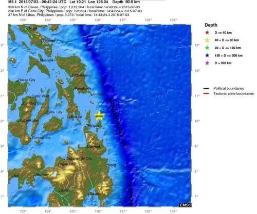 Terremoto Filippine oggi 3 Luglio 2015, scossa di magnitudo 6.1 Richter - EMSC