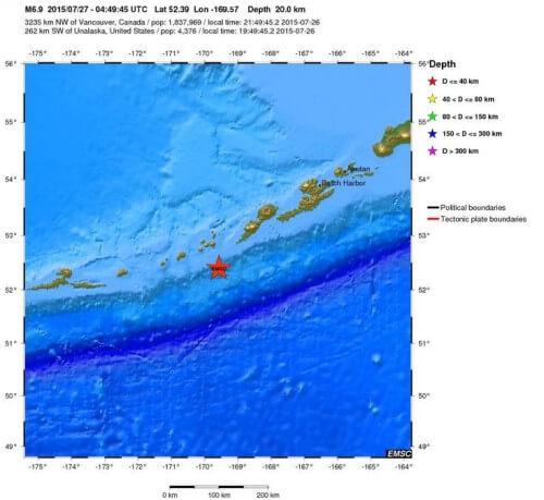 Forte scossa di terremoto di magnitudo 6.9 della scala Richter in Alaska, Isole Auletine - mappa EMSC