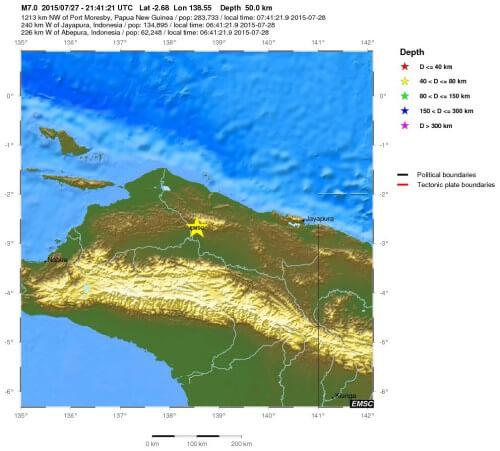 Violenta scossa di terremoto a Papua-Nuova Guinea, magnitudo 7.0 della scala Richter - EMSC