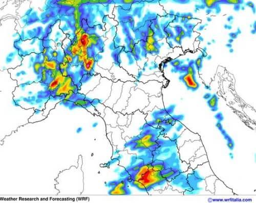 Temporali in arrivo al Nord Italia nella serata di oggi - WRF www.meteotreviglio.com