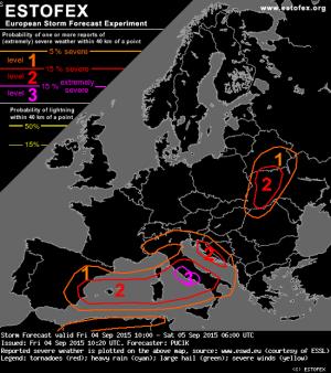Prossime ore : forti temporali attesi sul Lazio - ESTOFEX