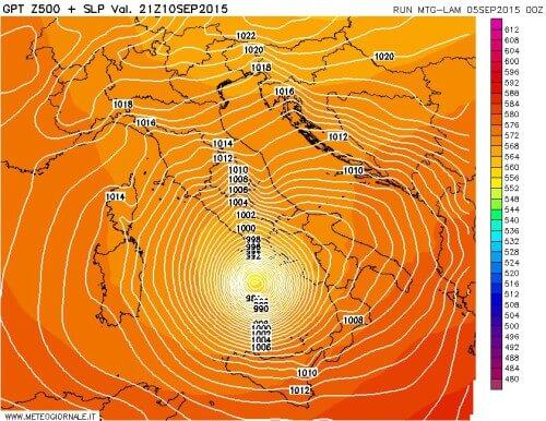 Possibile ciclone mediterraneo tra 10 e 12 Settembre
