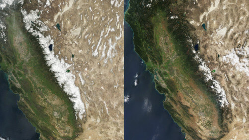 ghiacciai siccità california