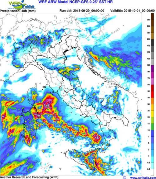 maltempo prossimi due giorni rischio alluvioni sicilia sardegna