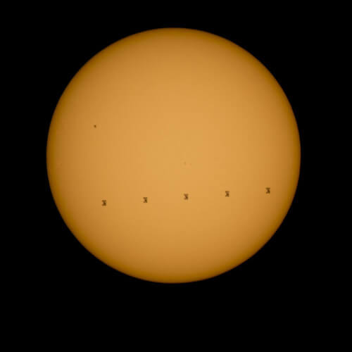 stazione spaziale sole transito