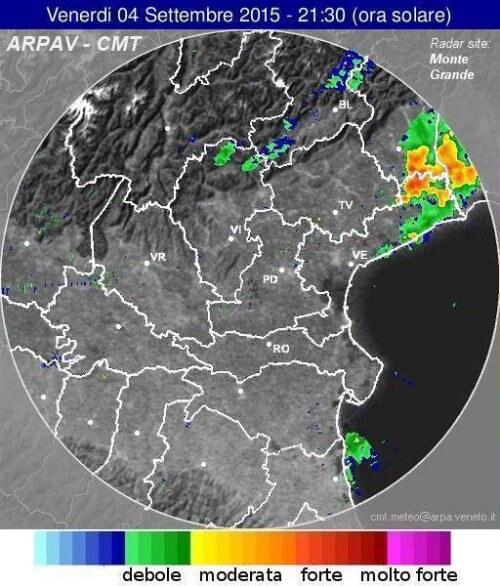 Radar ARPAV Veneto, violenti temporali al NE
