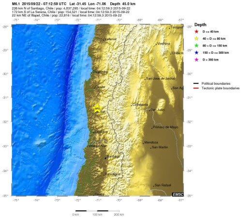 terremoto cile 22 settembre