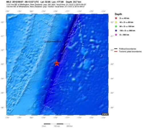 Terremoto di magnitudo 6.3 Richter a Nord della Nuova Zelanda - EMSC