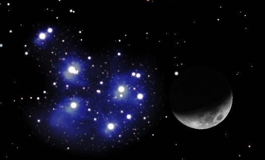 Congiunzione Luna - Pleiadi: come osservare il nuovo evento astronomico Fonte: Fhshh.com
