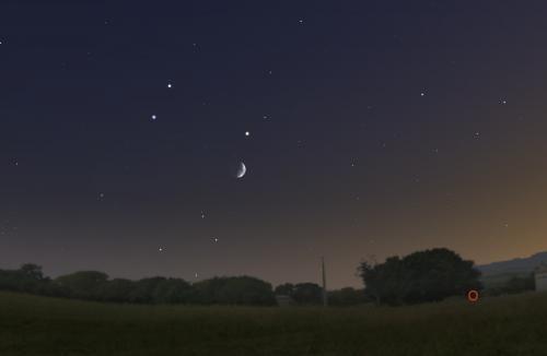 congiunzione Luna, Marte e Saturno